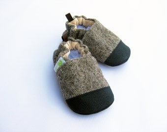 Wool Rustic Brown Tweed / Non-Slip Soft Sole Baby Shoes / Made to Order / Babies Toddlers
