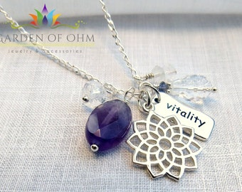 Crown Chakra Charm Necklace with Amethyst and Crystal Quartz, Addiction Chakra Jewelry, Sterling Silver Charm Necklace, Yoga Jewelry
