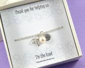 Bridesmaids Bracelet Silver Bow Bracelet Bridesmaids Thank You Gift Initial Bracelet