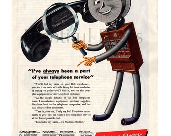 1947 Western Electric Vintage Ad, Bell Telephone, 1940's Telephone, Advertising Art, Retro Phone, Vintage Illustration, Great for Framing.