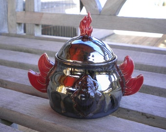Red Winged Flaming Scarab Lidded Pot