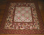 Pink, Burgundy, and Brown Handmade Lap Quilt 68 x 80 inches