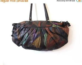 BTS SALE Vintage 80s Oversized EARTHEN Patchwork  Leather Boho Chic Duffel Bag