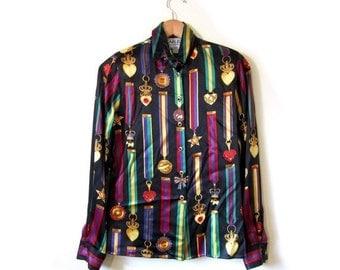 BTS SALE Vintage 90s Black Silk ROYAL Crest Button Up Blouse womens small