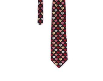 BTS SALE Vintage 80s Silk Conversation HEARTS Valentine's Day Necktie