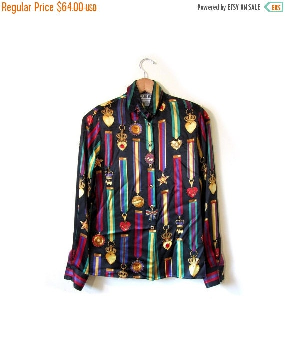 BTS SALE Vintage 90s Black Silk ROYAL Crest Button Up Blouse womens small