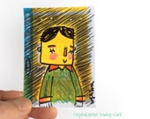 Sleepy Hipster ATC Original Drawing - Original Doodle illustration - ACEO, ATC, Artist Trading Cards