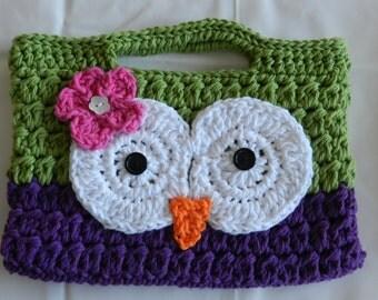 Crocheted Owl Purse/ Childs Crochet Purse/  Dark Purple and Green Crocheted Owl Purse