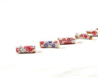 Handmade Fabric Beads Bugle Fiber Textile Beads Lightweight Big Hole Beads Large Hole in Floral Print Multicolored Purple Red Gold Orange