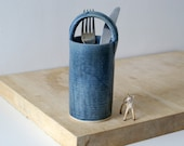 Ceramic utensil holder with curved handle - glazed in smokey blue