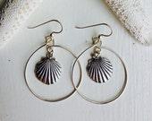 SEA SHELL Hoop Earrings Sterling Silver. Made in Hawaii. Perfect Gift BFF Birthday Wedding mother in law Memorabiia Souvenir Beach Ocean