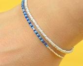 Sterling silver ,Turquoise and Lapis Lazuli bracelet.Beaded bracelet.Friedship bracelet.Gemstones bracelet.Clasp bracelet