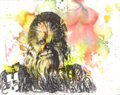 Chewbacca Chewie Portrait Painting Star Wars Art Print From Original Watercolor Painting 13 x 19 in. Star Wars Art Print