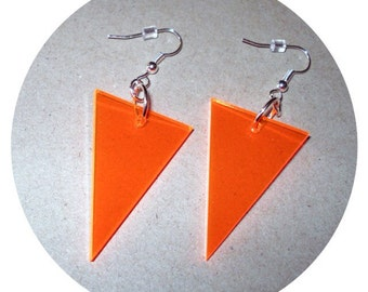 Triangular Shape Geometric Neon Orange Triangle Dangle Earrings