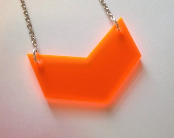 Chevron Necklace in Neon Orange Lasercut Acrylic - Fluorescent Jewelry