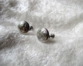 Vintage Sterling Silver Floral Designer Earrings Screw Back Signed Ladye Faire