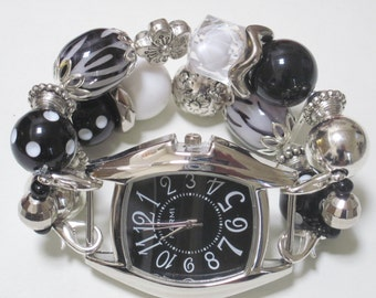 Chunky Black , White, and Silver Acrylic Beaded Interchangeable Watch Band. Includes Black Watch Face