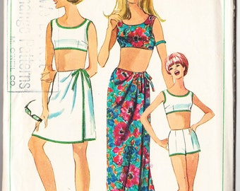 Vintage 1966 Simplicity 6547 Sewing Pattern Misses' Sarong Skirt in Two Lengths and Two Pieces Bathing Suit Size 12 Bust 32