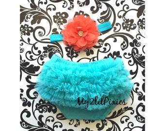 Bloomers and Headband- Ruffle Bloomers , Newborn Bloomers, Baby Girl Bloomers, Baby Set, Baby Clothing, ruffle Diaper Cover , Newborn photos