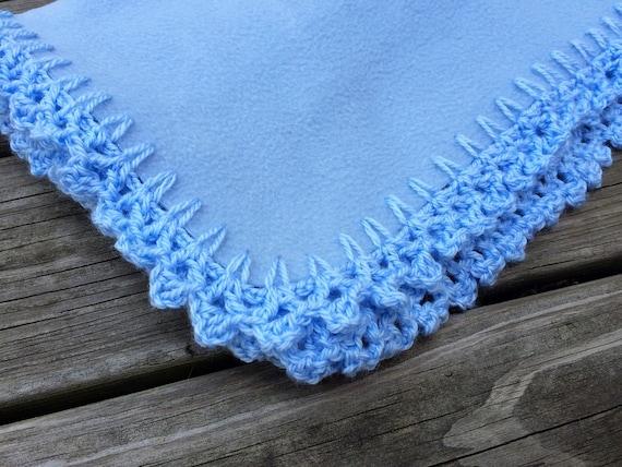 Blue Baby Fleece Blanket Crochet Border Handmade By