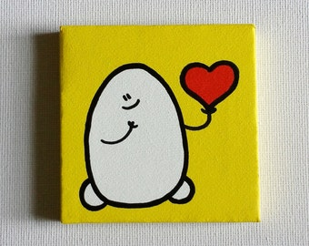 Chep Heart - Yellow Version - Acrylic Painting On Canvas - Original - Tiny Miniature Painting