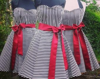 Ready to Ship Small Black & White Striped Dress Lolita Steampunk Sailor 50s Petticoat Circus