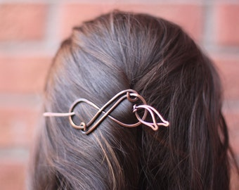Infinity hair pin or shawl pin in copper - Hair pin - Hair barrette - Shawl pin - Hair accessory - HO009