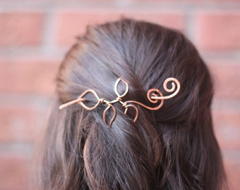 Vine with leaves hair slide in copper - Hair accessories - Hair barrette - Hair pin - Shawl pin - Twig pin - HP003