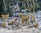 """cute snowy Christmas scene tapestry pillow 15"""""""