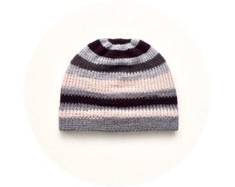 Mens winter beanie, striped hat, knit accessory FREE SHIPPING