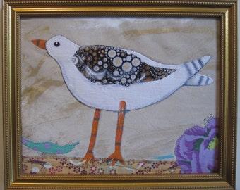 """Bird appliqué quilt,  fabric art 8""""x10"""" plus gold frame"""