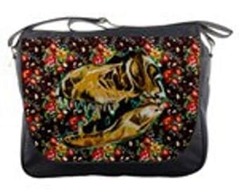 Tyrannosaurus Rex Skull Illustration with Floral Design Messenger Bag Purse Dinosaur Gift Back to School Trex