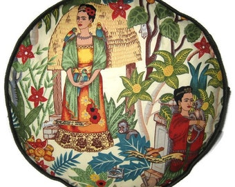 Frida Kahlo Garden Pouffe Foot Rest Floor Cushion Pouf Olive Green