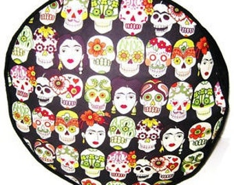 Frida Kahlo Gotas De Amor - Black -Pouffe Foot Rest Floor Cushion Pouf