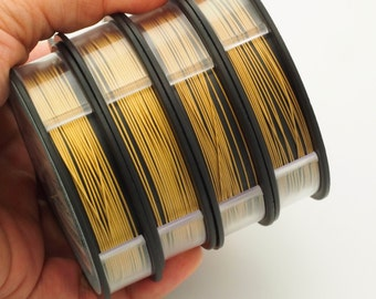 Bead Stringing Wire - 24kt Gold Plated 49 Strand - 2 Sizes Available - Free Crimps Sample - 100% Guarantee