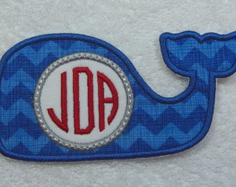 Whale Triple Monogram Fabric Embroidered Iron On Applique Patch MADE TO ORDER