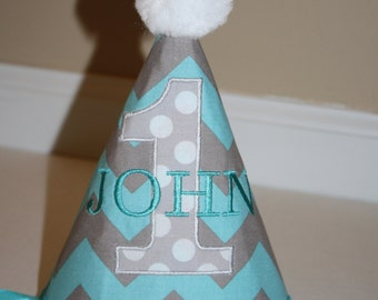 1st birthday hat boys, aqua blue, gray, boys hat, smash cake outfit, first birthday hat, personalized birthday hat