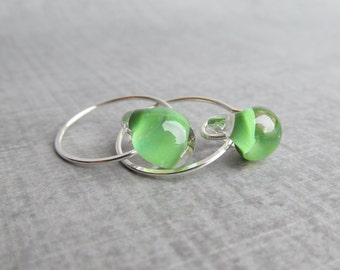Green Lampwork Hoops, Small Silver Earrings, Green Earrings, Small Wire Earrings, Small Hoops, Sterling Silver Hoop Earrings, Handmade Hoops