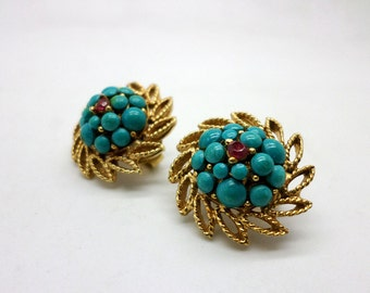 Lovely Vintage Gold Tone Faux Turquoise and Pink Stone Clip On Earrings