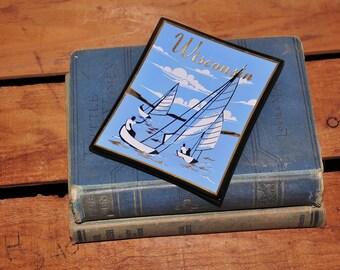 vintage Wisconsin sail boats glass jewelry dish / nautical home decor / ring dish / change dish