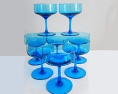 8 Vintage Turquoise Blue  Italian Martini or Champagne Glasses Hollywood Regency Mad Men Chic