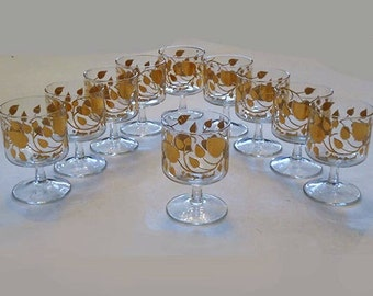 10 Vintage  Gold Leaf Martini Sherbert  Glasses Atomic Gold Frosted Foliage Leaves Motif  Hollywood Regency Mad Men Style by Georges Briard