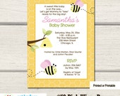 Bumble Bee Girl Baby Shower Pink Wings Baby Shower Invitations Printed or Printable BS-155