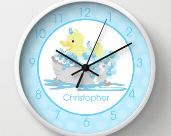 """Yellow Duck Ducky in Tub Child's Bathroom Clock, Kids Bath Decor, 10"""" wall clock personalized with name"""