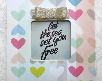 Coral Hearts Picture Frame -- Glitter Bow