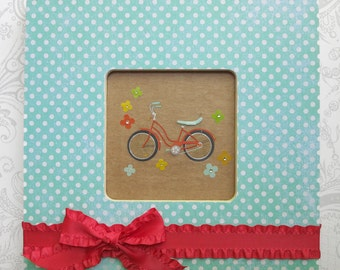 Shabby Chic Teal Dots with Red Bow -- Nursery