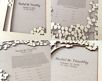 Woodcut Ketubah and matching Guestbook Album - Tree of Life Modern Ketubah art Print - Jewish marriage certificate and guestbook - SET