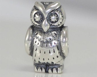 1 Authentic Sterling Silver Charm Adorable Owl King Bead For European Charm Bracelet EC396