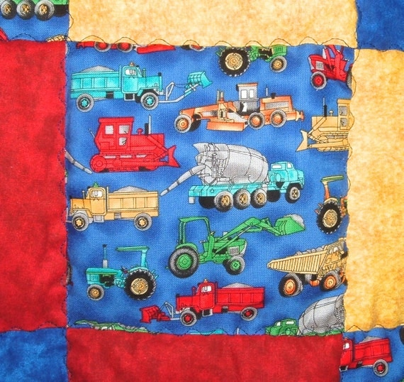 Construction Truck Baby Boy Quilt In Blue Red And By