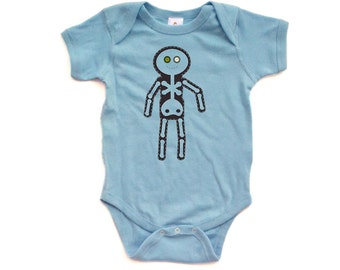 Apericots Fun Eerie Black Silly Skeleton Doll Unisex Baby Cute Soft Cotton Romper